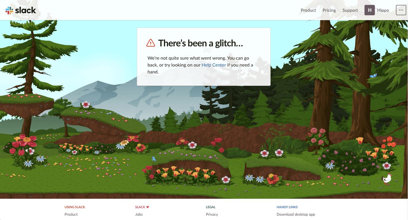 404 pagina not found slack