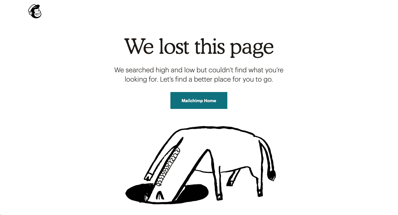 404 pagina not found mailchimp