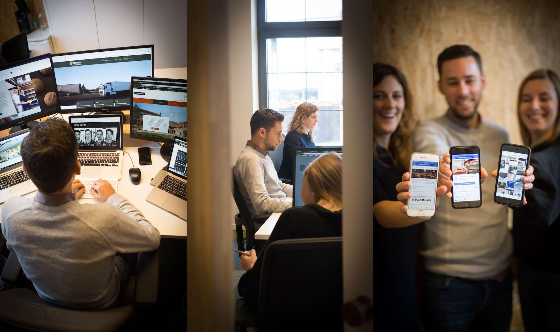 Tobias, Marlies en Charlotte op kantoor